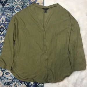 Forever 21 Waffle Knit Button Front Top